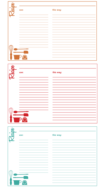free recipe cards example